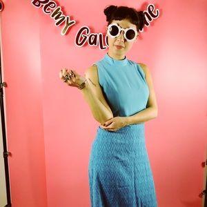 Vtg 60s Blue Abstract Print Boho Maxi Dress SM